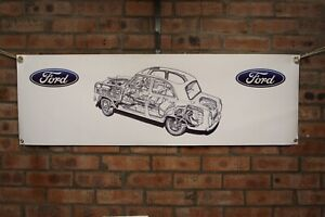 Ford Prefect 100E 107E  large pvc  WORK SHOP BANNER garage  SHOW