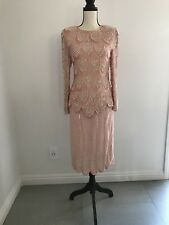 Vintage Pink Sequin Bead Silk Sz S Blouse and ~Sz M/L Skirt