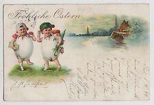 POSTCARD - easter greeting, children in eggs, early art chromo, posted 1899