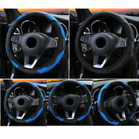 38cm Car Steering Wheel Cover Protector Glove Universal Blue Leather Skidproof