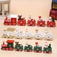 Marry Christmas Wooden Train Festive Ornament Santa Xmas Snowman DIY Decor W1C8