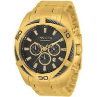 Invicta Men's Watch Bolt Quartz Chronograph Black and Gold Dial Bracelet 34122