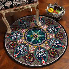 Round Carpet Area Rug Small Retro Floor Mat Mandala Soft Antislip Home Decor