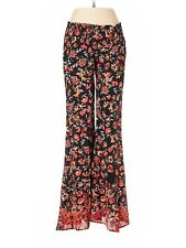 FREE PEOPLE ONE Floral Rayon Flare Hippie Pants Black Red-Orange XS