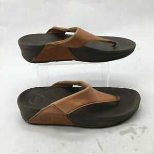 FitFlop Lulu Slip On Wedge Flip Flop Thong Sandal Womens 6 Brown Leather 288-113
