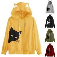 Ladies Cute Cat Ear Hooded Long Sleeve Hoodie Sweatshirt Pullover Casual Tops
