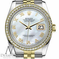 Ladies Rolex 31mm Datejust 2 Tone White MOP Mother Of Pearl Roman Numeral Dial