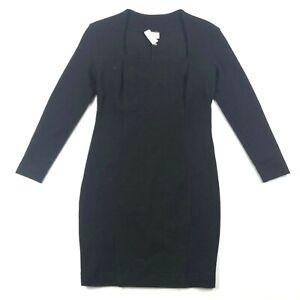 BYBLOS IT 42 M Wool Stretch Blend Black Long Sleeve Square Neck Shift Dress NWT