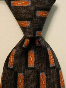 JOS. A. BANK Men's 100% Silk Necktie USA Designer Geometric Gray/Orange/Blue EUC