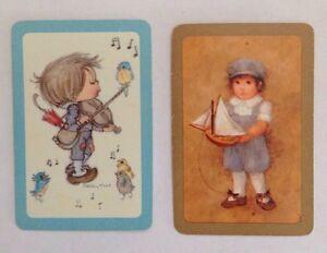 Miniature Vintage Betsy Clark Boy With Bluebird And Halmarks Blue Boy Swap Cards