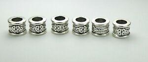 Set of 6 Big Hole Triquetra Beads for Braid Dreadlock Beard Hair Jewelry 6mm ID