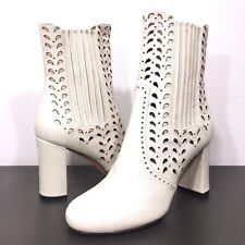 DEREK LAM Womens Emilia Chelsea Cutout Leather Heeled Boots White 38 (MSRP $895)