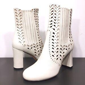 DEREK LAM Womens Emilia Chelsea Cutout Leather Heeled Boots White 38 (MSRP $895)