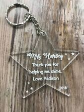Personalised engraved teacher thank you end of term keyring leaving gift