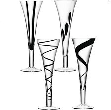 LSA Jazz Champagne Flutes - Assorted Black - Set of 4