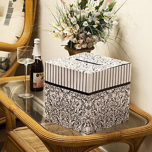 "Black & White Wedding Card Money Gift Box Reception Wishing Well 10""x10"""