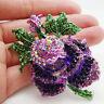 Vintage Style Purple Rose Flower Silver Tone Brooch Pin Rhinestone Crystal