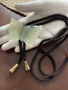 Vintage Bolo Tie REAL JADE CARVED BUTTERFLY