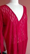K) burgandy/red semi sheer fine net lace maxi kaftan top beach plus size XL