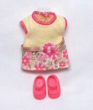 Barbie Kelly Doll Clothes Pink & Yellow Flower Fashion Dress + Shoes Mattel