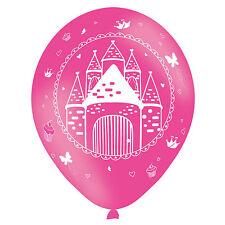 6 Pink Woodland Princess Castle Printed Latex Balloons