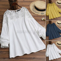 UK Women Blouse Long Sleeve Round Neck Lace Patchwork Floral Tops Tee Shirt Plus