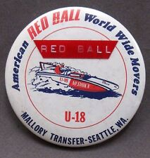1974 MALLORY'S RED BALL EXPRESS U-18 Dymo Tape version pinback button hydroplane
