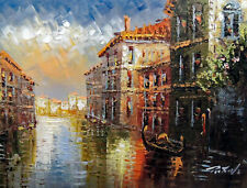 Venice Canal Italian Homes Foggy Clouds Day 12X16 Oil Painting By Hand STRETCHED