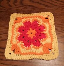 Colorful Flower Cotton Thick Hand Crocheted Hot Pad Dish Wash Cloth