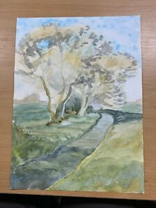 """13.75"""" x 10"""" AMATEUR WATERCOLOUR COUNTRY RIVER DOUBLE-SIDED PAINTING (P3)"""