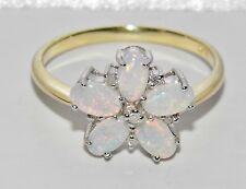 BELLISSIMA 9ct giallo oro e argento Naturale Opale & Diamante Anello di Cluster Taglia M