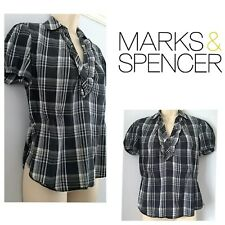 Ladies Size 10 Black and white check Marks & Spencer Cotton Blend Stretch Shirt
