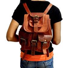 New Vintage Handmade Genuine Real Leather Hiking Backpack Rucksack Small Bag