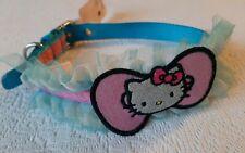 "HELLO KITTY DESIGNER NYLON Frilled DOG COLLAR pink blue M 3/4"" X (NECK 16-19"")"