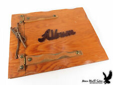 Vintage Folk Art Photo Album Scrap Book Wooden Covers Hand Crafted OOAK