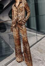 Christmas runway Lapel neck Long sleeves Button Pocket Zipper Leopard Pants suit