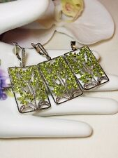 Sterling Silver Green Peridot And CZ Jewelry Set