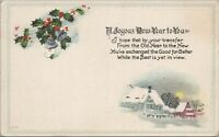 New Year Greeting Embossed Vintage Postcard Divided Back c1910 Unposted