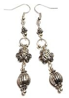 A Pair Long Tibetan Silver Style Earrings Pierced Hooks Drop Dangle Boho Hippy