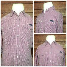 Columbia PFG  Super Bonehead Vented Mens Outdoor Shirt L/S Purple Checker Size M