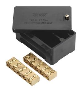 Click 100A Double 2 Pole DP Mains Henley Block Connection Box 2X 5 Way