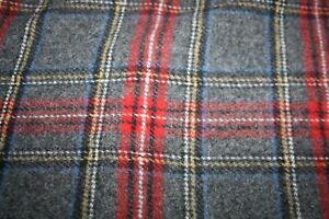 Vintage Pendleton 100% Wool Plaid Gray/Black/Red Blanket Throw Fringed NEW w Tag
