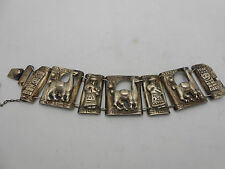 WOW Heavy Antique Coin Silver 900 Bracelet With Camels Llamas Humans Figures