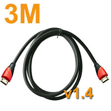 Premium 3m HDMI Gold Plated Cable High Speed Version 1.4 Compatible all HDTV