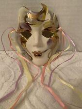 New Orleans Mardi Gras Mask Wall Hanging Decor Porcelain Ceramic Signed Vtg
