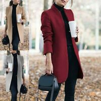 Wool Jacket Trench Warm Outwear Women Parka Long Slim Overcoat Coat Lapel Winter