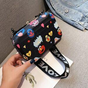 Cartoon Print New Suitcase Shape Small Mini Luggage Shoulder Clutch Bag Handbag