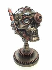 Steampunk Skull Figurine On Gear Stand Statue Sculpture