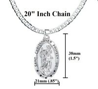 "925 Sterling Silver Mens Women's 20"" Link Chain Necklace Oval Saint Christopher"