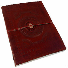 "Handmade Real Leather Embossed Sketchbook Scrapbook Journal 13""x10"" with Stone"